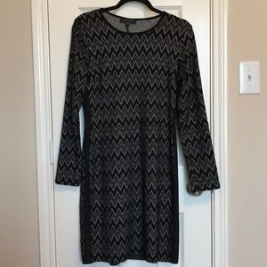 Chevron Dress with Faux Leather Trim